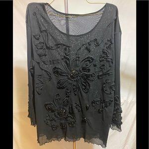 Black sheer blouse with flower design